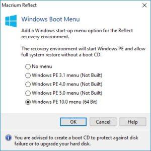 Windows PE 10 Boot Menu