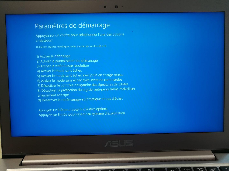 Mode Sans Echec - Windows 10 1803