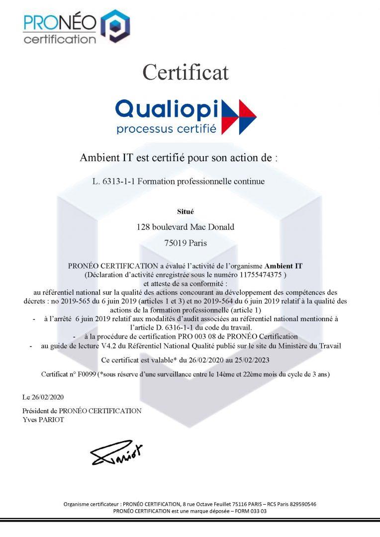 Attestation Qualiopi Certification - Certificat Qualité Ambient IT