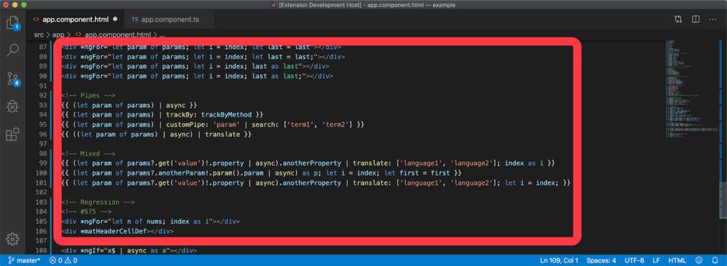 VSCode HTML Template Extension Linguistique Angular 9.1