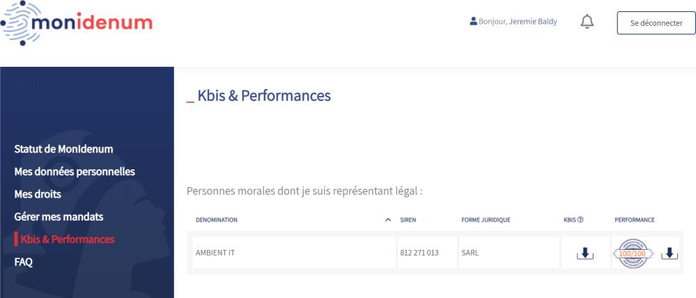 Monidenum.fr Site : Télécharger Kbis et Performance