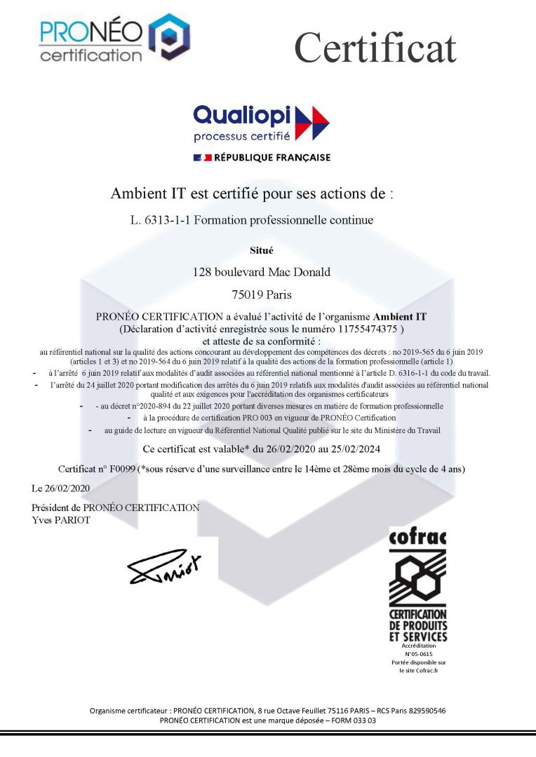 Attestation Qualiopi Certification - Certificat Qualité Ambient IT